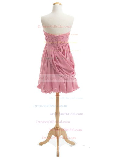 Inexpensive Sheath/Column Sweetheart Chiffon Short/Mini Ruffles Bridesmaid Dresses #DOB01012919