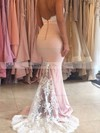 Trumpet/Mermaid Sweetheart Silk-like Satin Sweep Train Appliques Lace Backless Bridesmaid Dresses #DOB01012920