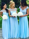 A-line Scoop Neck Chiffon Tulle Floor-length Pearl Detailing New Bridesmaid Dresses #DOB01012921