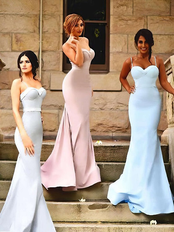 Trumpet/Mermaid Sweetheart Silk-like Satin Sweep Train Ruffles Hot Bridesmaid Dresses #DOB01012922