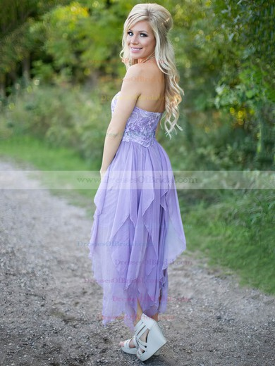 A-line Sweetheart Chiffon Asymmetrical with Lace New Style Bridesmaid Dresses #DOB01012923