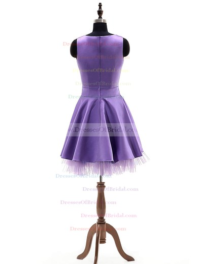 Online A-line Scoop Neck Satin Tulle Short/Mini with Bow Bridesmaid Dresses #DOB01012924
