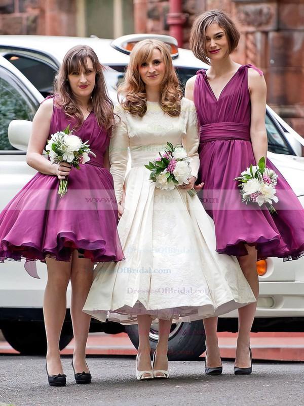 A-line V-neck Chiffon Short/Mini with Ruffles New Arrival Bridesmaid Dresses #DOB01012925