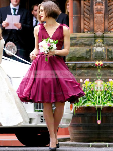 A-line V-neck Chiffon Short/Mini with Ruffles New Arrival Bridesmaid Dresses #DOB01012925