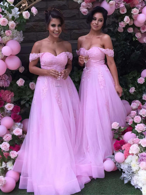 A-line Off-the-shoulder Tulle Floor-length Appliques Lace Unique Bridesmaid Dress #DOB01012926