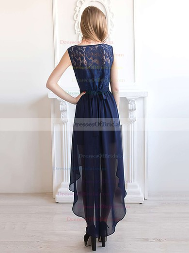 A-line Scoop Neck Chiffon with Lace Asymmetrical Dark Navy Bridesmaid Dresses #DOB01012927