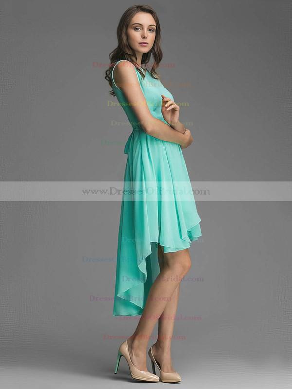 Wholesale A-line Scoop Neck Chiffon Asymmetrical Sashes / Ribbons Bridesmaid Dresses #DOB01012928