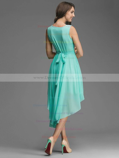 Wholesale A-line Scoop Neck Chiffon Asymmetrical Sashes / Ribbons Bridesmaid Dresses #DOB01012928