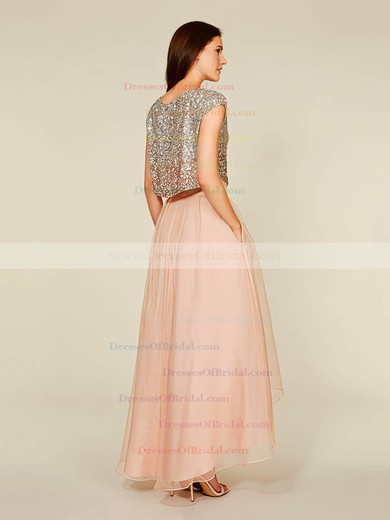 A-line Scoop Neck Tulle Sequined Asymmetrical Sequins Short Sleeve Two Piece Bridesmaid Dress #DOB01012930