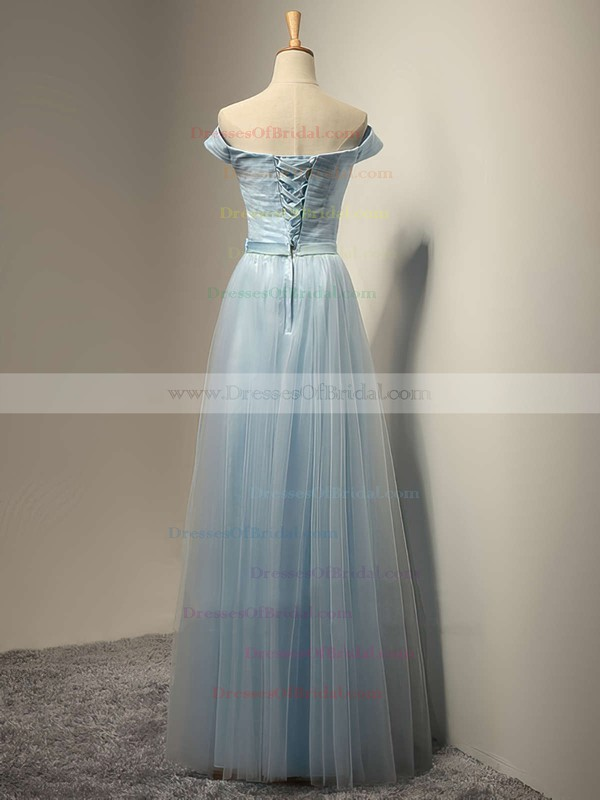 A-line Off-the-shoulder Tulle Floor-length Sashes / Ribbons Pretty Bridesmaid Dresses #DOB01012931
