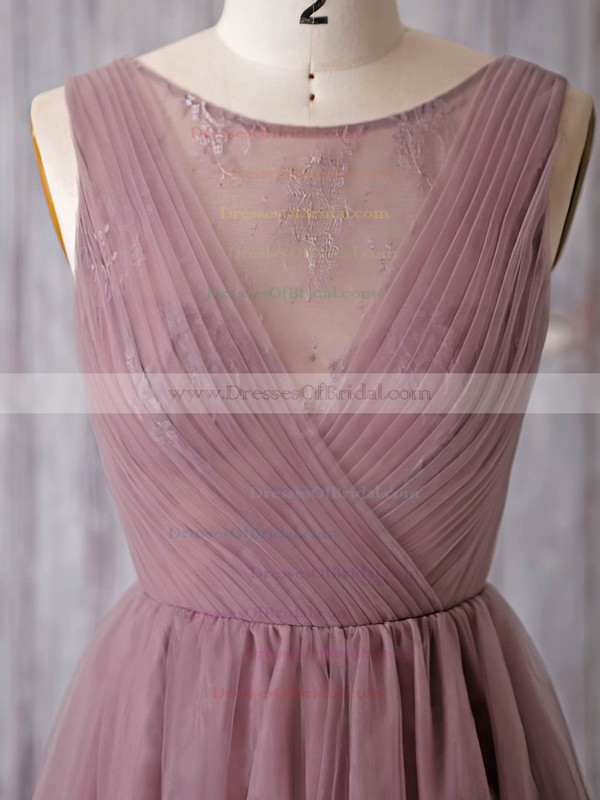 Discounted A-line Scoop Neck Tulle Lace Knee-length Bridesmaid Dresses #DOB01012932