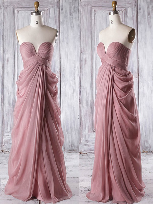 Empire Sweetheart Chiffon Floor-length Ruffles Fashion Bridesmaid Dresses #DOB01012933