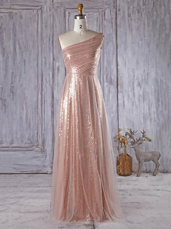 Different A-line One Shoulder Tulle Sequined Floor-length Ruffles Bridesmaid Dress #DOB01012934