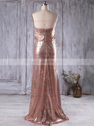 Sheath/Column Strapless Sequined Floor-length Sequins Popular Bridesmaid Dresses #DOB01012935