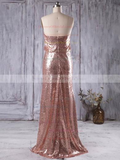 Sheath/Column Strapless Sequined Floor-length Sequins Popular Bridesmaid Dresses #DOB01012935