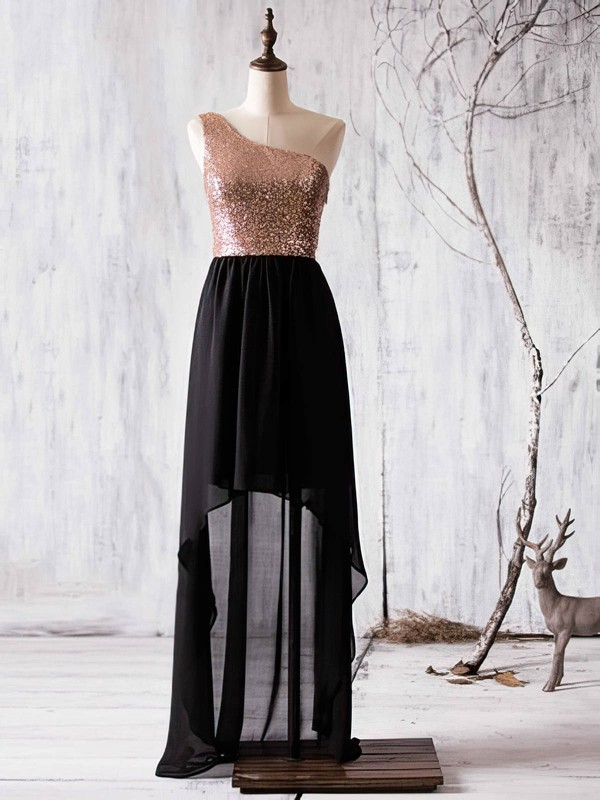 A-line One Shoulder Chiffon Sequined Asymmetrical Ruffles Boutique Bridesmaid Dress #DOB01012936