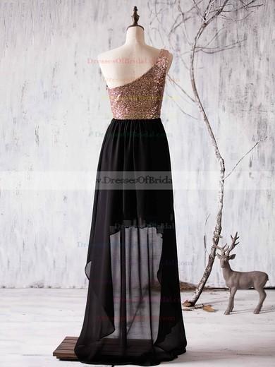 A-line One Shoulder Chiffon Sequined Asymmetrical Ruffles Boutique Bridesmaid Dress #DOB01012936