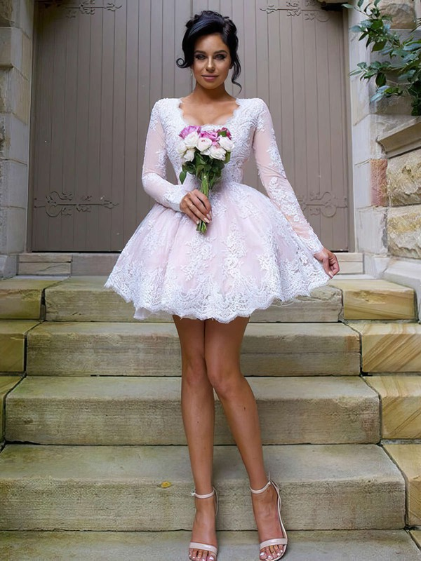 Cute A-line V-neck Tulle Short/Mini Appliques Lace Long Sleeve Bridesmaid Dresses #DOB01012937
