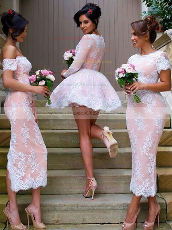Cute A-line V-neck Tulle Short/Mini Appliques Lace Long Sleeve Bridesmaid Dresses #DOB01012937
