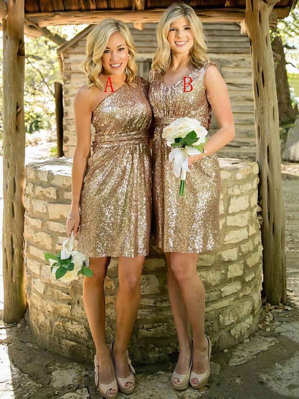 Exclusive Sheath/Column One Shoulder Sequined Short/Mini Ruffles Bridesmaid Dress #DOB01012939
