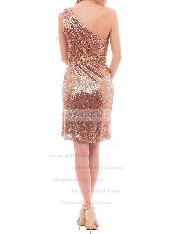Exclusive Sheath/Column One Shoulder Sequined Short/Mini Ruffles Bridesmaid Dress #DOB01012939