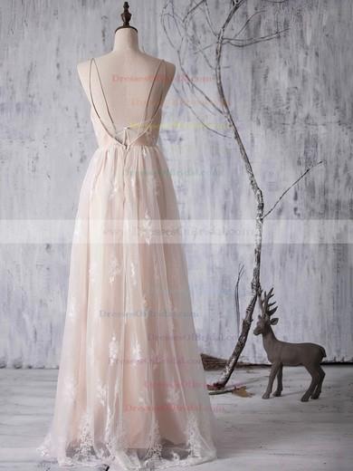 A-line V-neck Tulle Floor-length Appliques Lace Backless Bridesmaid Dresses #DOB01012940
