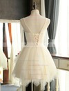 A-line Scoop Neck Lace Tulle Short/Mini Sashes / Ribbons Girls Bridesmaid Dresses #DOB01012941