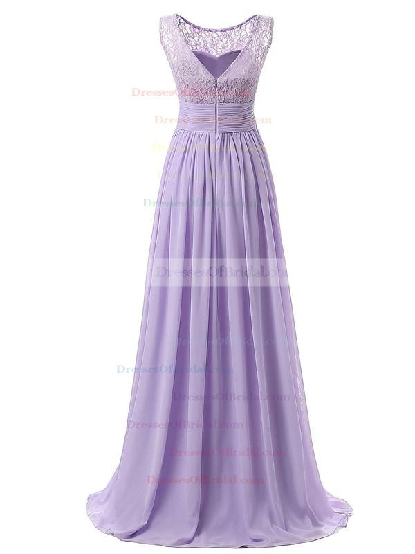 Modest A-line Scoop Neck Lace Chiffon Floor-length Ruffles Bridesmaid Dresses #DOB01012943