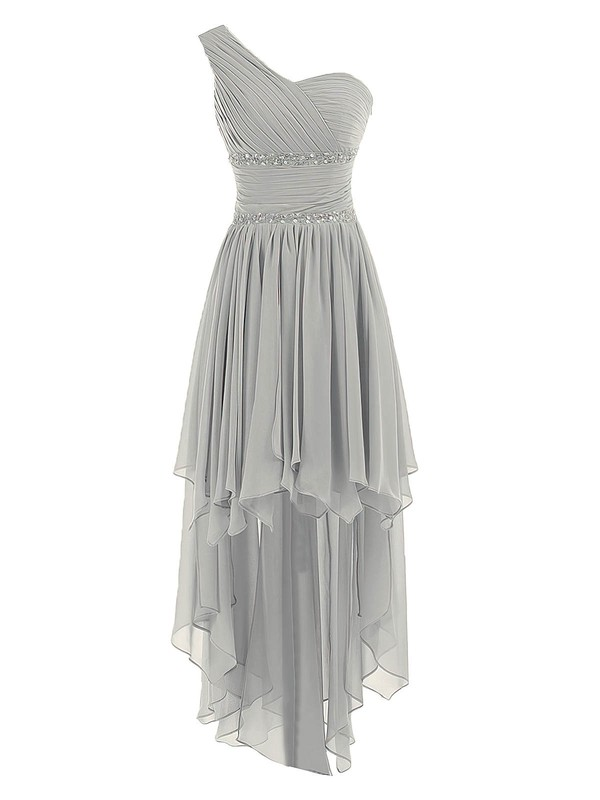A-line One Shoulder Chiffon Asymmetrical Ruffles Trendy Bridesmaid Dresses #DOB01012944