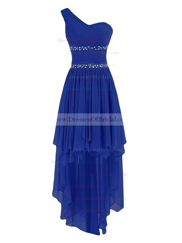 A-line One Shoulder Chiffon Asymmetrical Ruffles Trendy Bridesmaid Dresses #DOB01012944