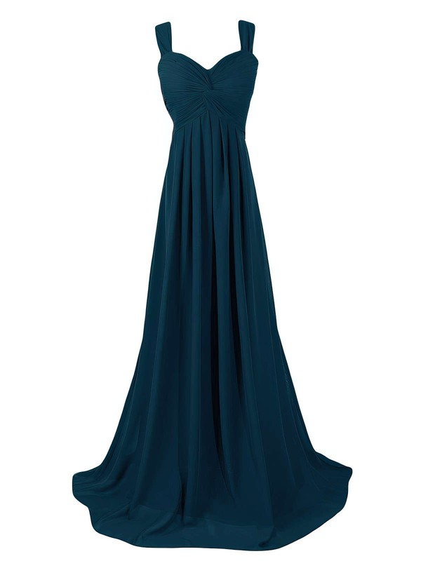 Empire Sweetheart Chiffon Sweep Train Criss Cross Cheap Bridesmaid Dresses #DOB01012945