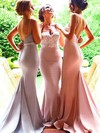Trumpet/Mermaid Sweetheart Silk-like Satin Sweep Train Appliques Lace Backless Bridesmaid Dress #DOB01012946