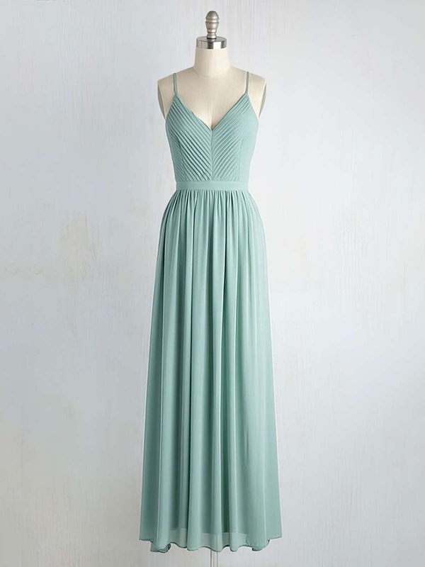 Backless A-line V-neck Chiffon Floor-length Ruffles Custom Bridesmaid Dresses #DOB01012947