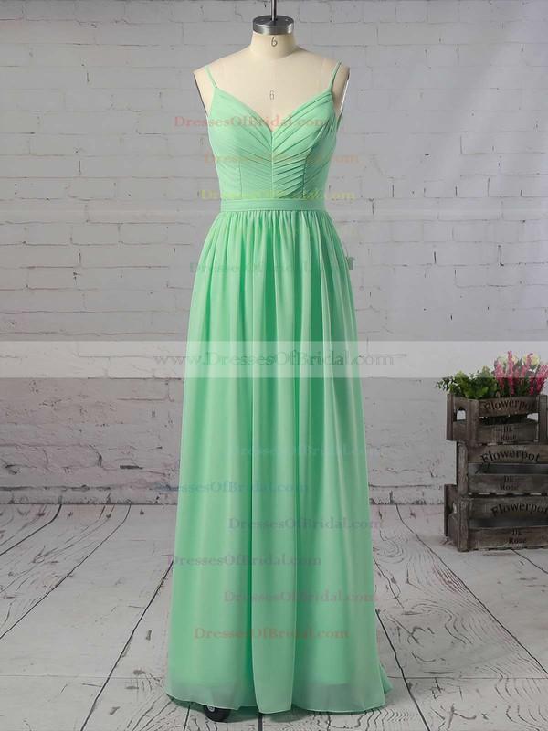 Backless A-line V-neck Chiffon Floor-length Ruffles Custom Bridesmaid Dresses #DOB01012947