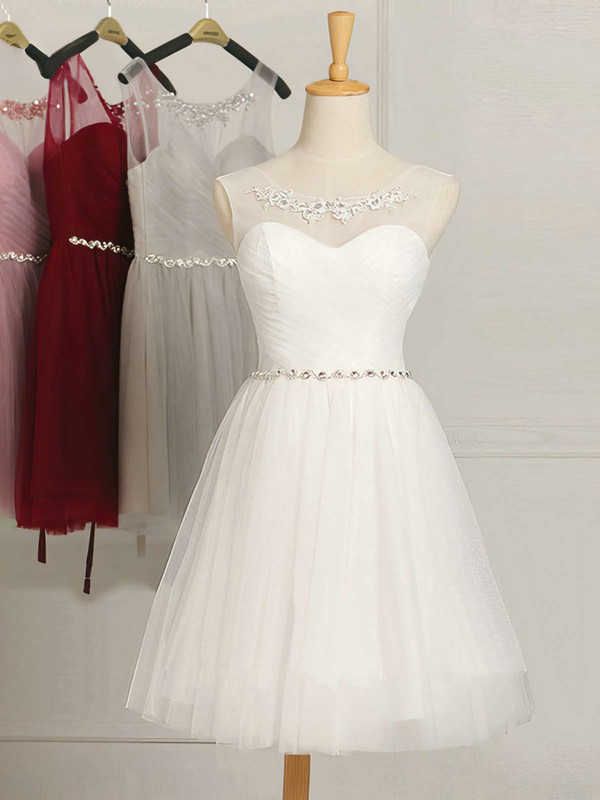 Junior A-line Scoop Neck Tulle Short/Mini Ruffles White Bridesmaid Dresses #DOB01012948
