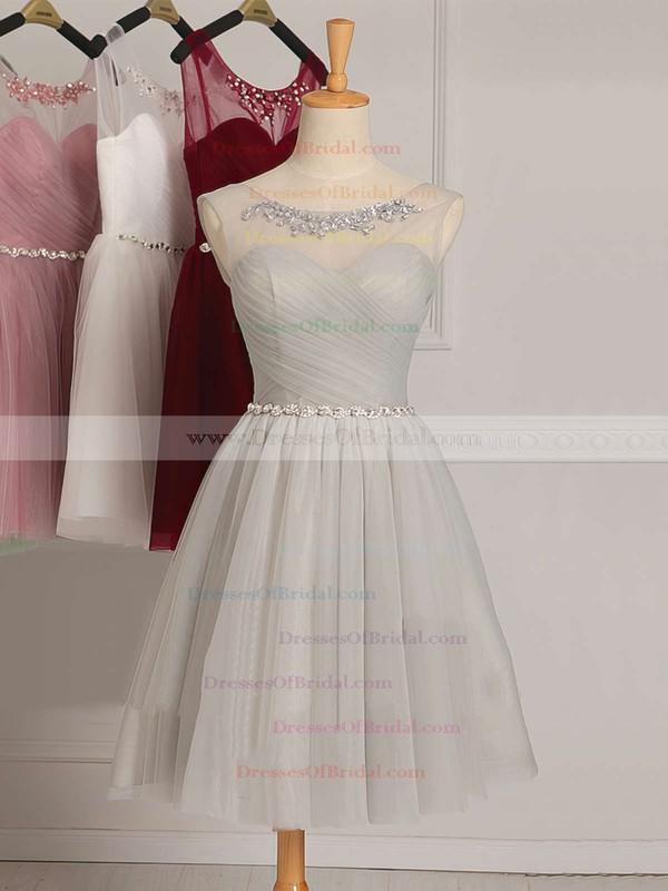 Junior A-line Scoop Neck Tulle Short/Mini Ruffles White Bridesmaid Dresses #DOB01012948