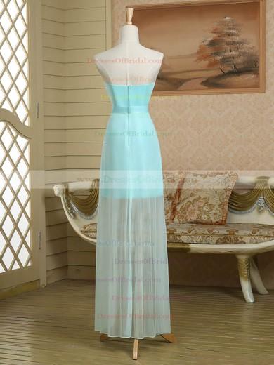 Sheath/Column Strapless Satin Chiffon Asymmetrical Ruffles Nice Bridesmaid Dress #DOB01012949