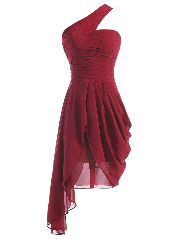 Burgundy A-line One Shoulder Chiffon Asymmetrical Ruffles Bridesmaid Dresses #DOB01012950