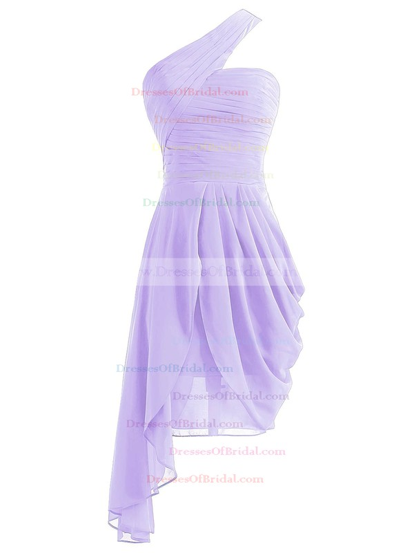 Burgundy A-line One Shoulder Chiffon Asymmetrical Ruffles Bridesmaid Dresses #DOB01012950