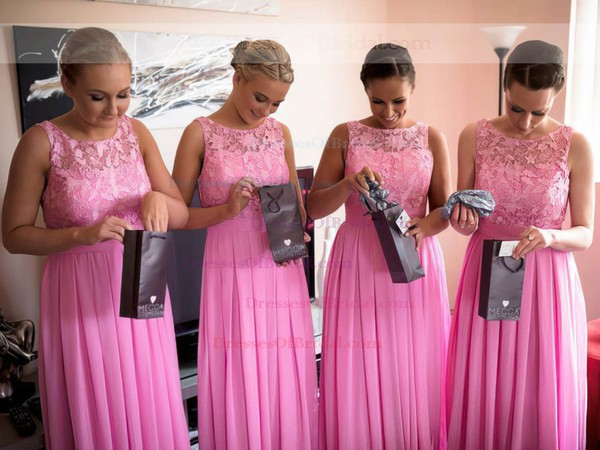 A-line Scoop Neck Chiffon Floor-length Lace Glamorous Bridesmaid Dresses #DOB01012951