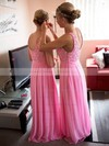 A-line Scoop Neck Chiffon Floor-length Lace Glamorous Bridesmaid Dresses #DOB01012951