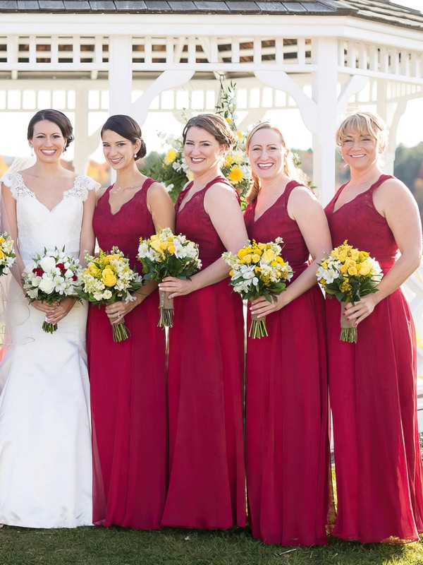 Elegant A-line V-neck Chiffon Floor-length Appliques Lace Open Back Burgundy Bridesmaid Dresses #DOB01012952