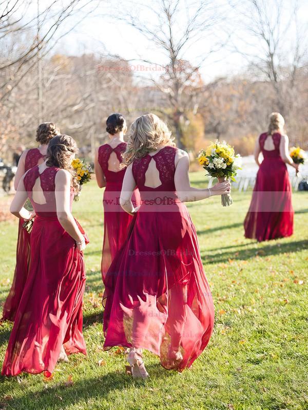 Elegant A-line V-neck Chiffon Floor-length Appliques Lace Open Back Burgundy Bridesmaid Dresses #DOB01012952