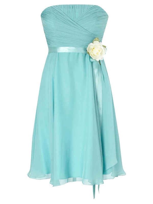 Empire Strapless Chiffon with Sashes / Ribbons Beautiful Knee-length Bridesmaid Dresses #DOB01012953