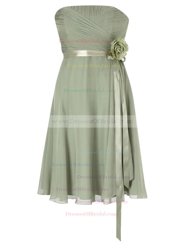 Empire Strapless Chiffon with Sashes / Ribbons Beautiful Knee-length Bridesmaid Dresses #DOB01012953