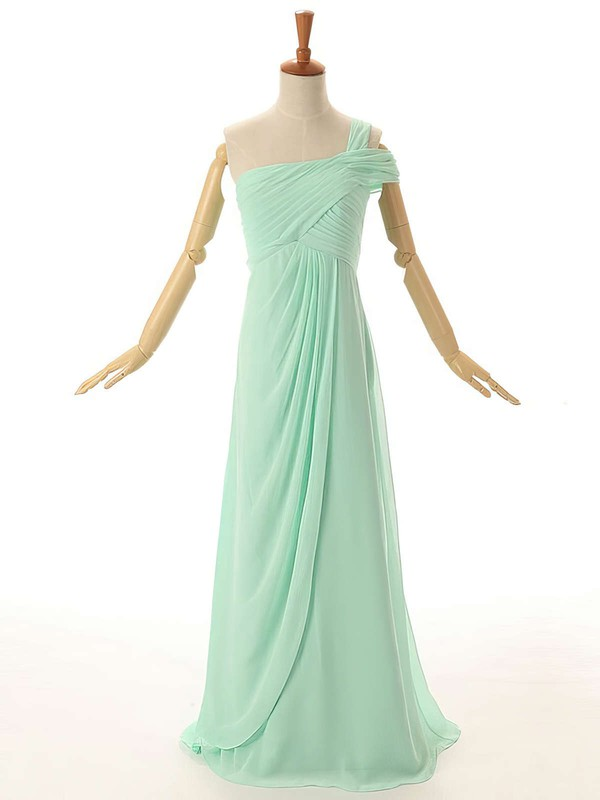 One Shoulder Empire Ruffles Chiffon Floor-length Modest Bridesmaid Dresses #DOB01012954