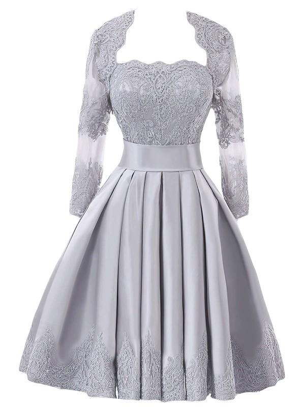 Original Strapless A-line Satin with Appliques Lace Knee-length Bridesmaid Dresses #DOB01012957