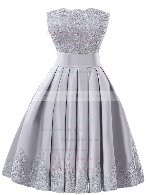 Original Strapless A-line Satin with Appliques Lace Knee-length Bridesmaid Dresses #DOB01012957