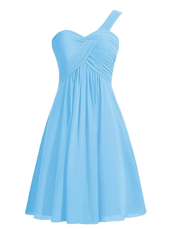 Custom Empire Blue Chiffon with Ruffles Knee-length One Shoulder Bridesmaid Dresses #DOB01012959