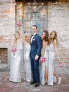 Exclusive Sheath/Column V-neck Sequined Floor-length Split Front Silver Bridesmaid Dresses #DOB01012961